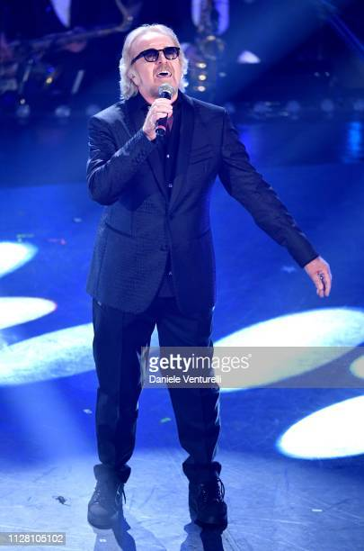 Umberto Tozzi on stage during the third night of the 69th Sanremo Music Festival at Teatro Ariston on February 07, 2019 in Sanremo, Italy.