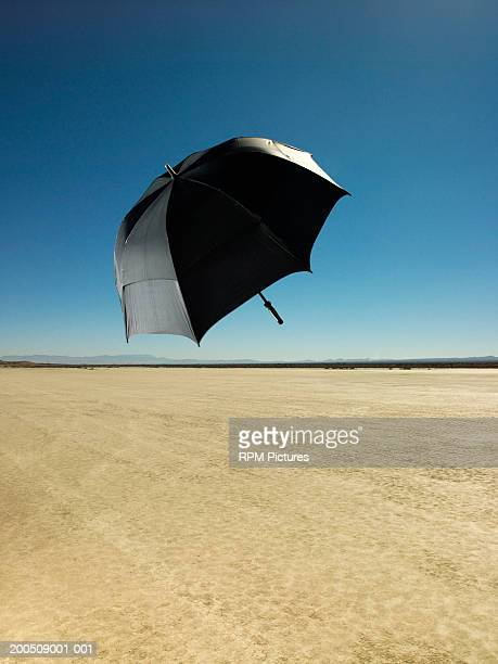 umbrella flying in wind over desert - el mirage dry lake stock photos and pictures