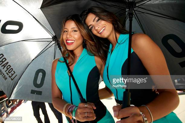Umbrella girls during race day of the Gran Premio Movistar de Aragon of world championship of MotoGP at Motorland Aragon Circuit on September 23 2018...