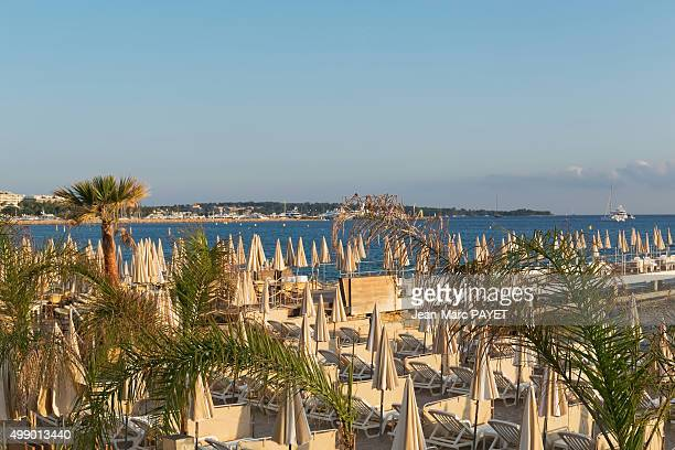 Umbrellas and beach chairs on the beach, Cannes, French Riviera