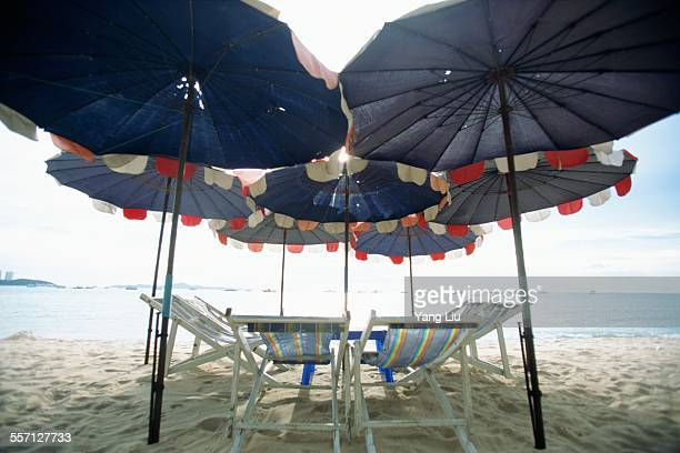 Umbrellas and Deck Chairs at Beach