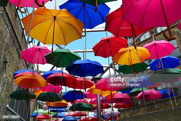 umbrellas art installation, london, uk - borough market stock pictures, royalty-free photos & images