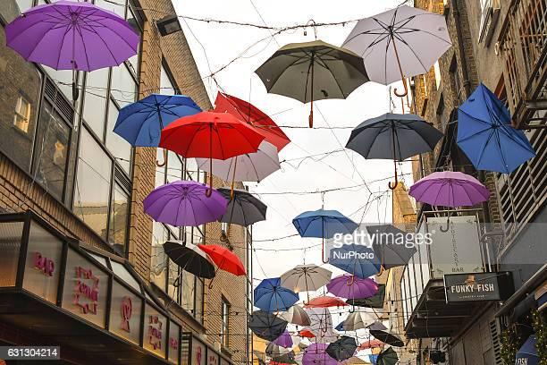 Umbrellas hang over Anne's Line in Dublin city center On Sunday 8 January 2017 Dublin Ireland