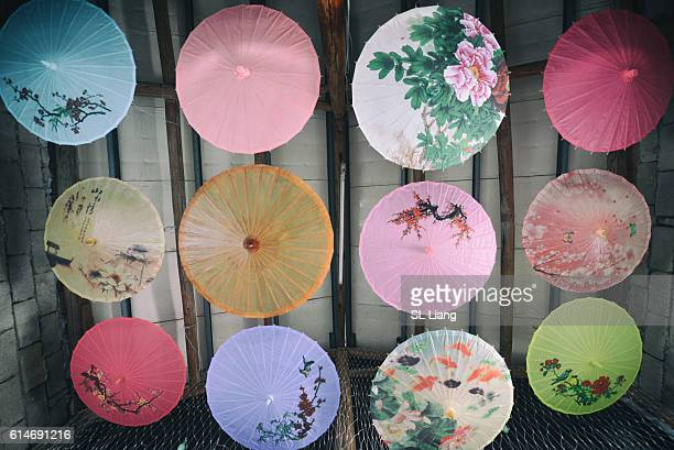 Umbrellas of chinese traditional design (overhead view)
