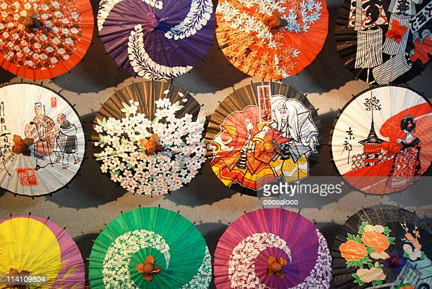 umbrellas of japanese traditional design - japanese culture stock pictures, royalty-free photos & images