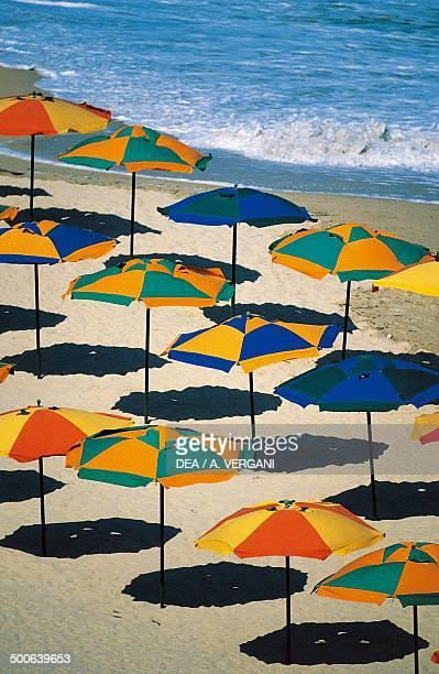Umbrellas on the beach Golden Sands Varna Black Sea Bulgaria