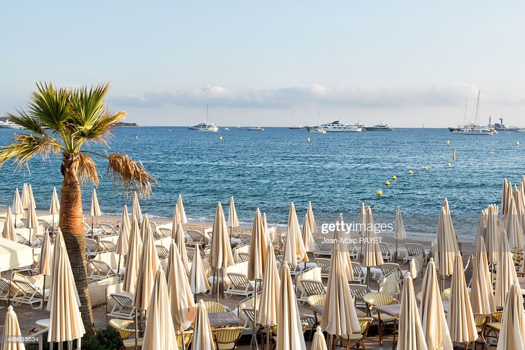 Umbrellas on the beach in Cannes : Photo