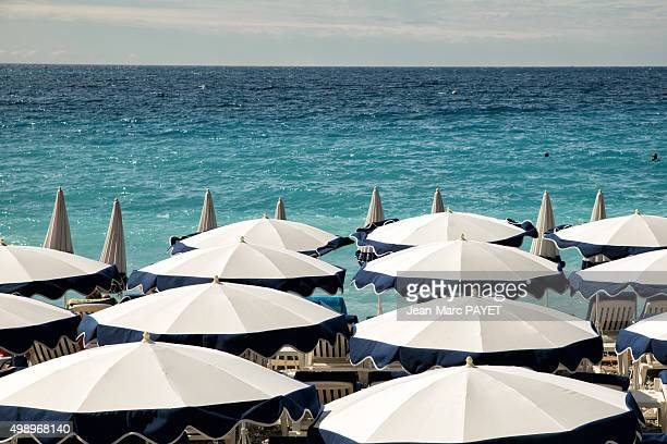 Umbrellas on the beach in Nice