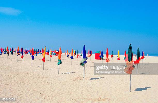Umbrellas on the beach, North Deauville, Normandy, France