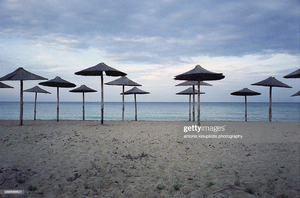 Umbrellas on the beach : Stock Photo