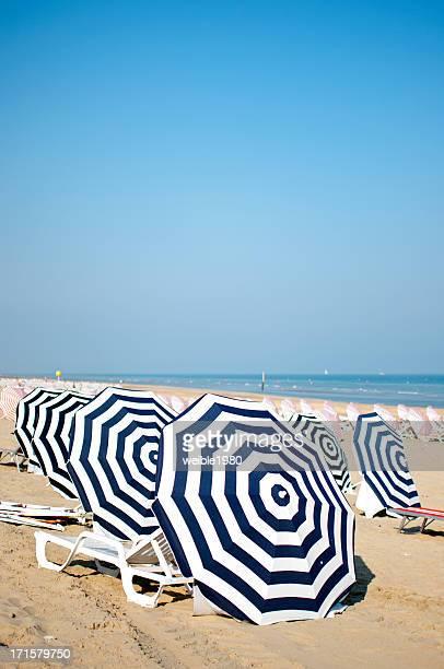 Umbrellas on the Belgian beach