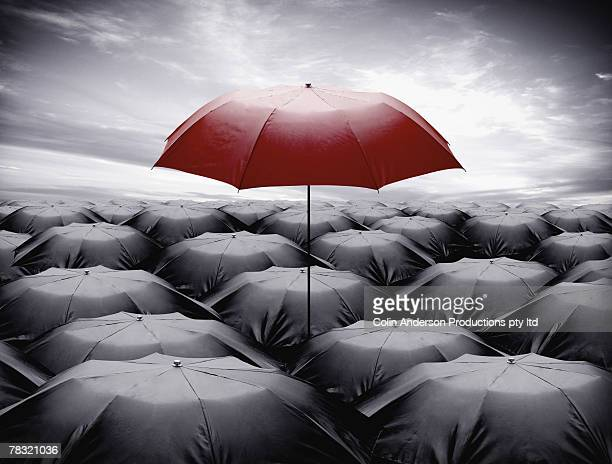 Umbrellas, standing out of crowd