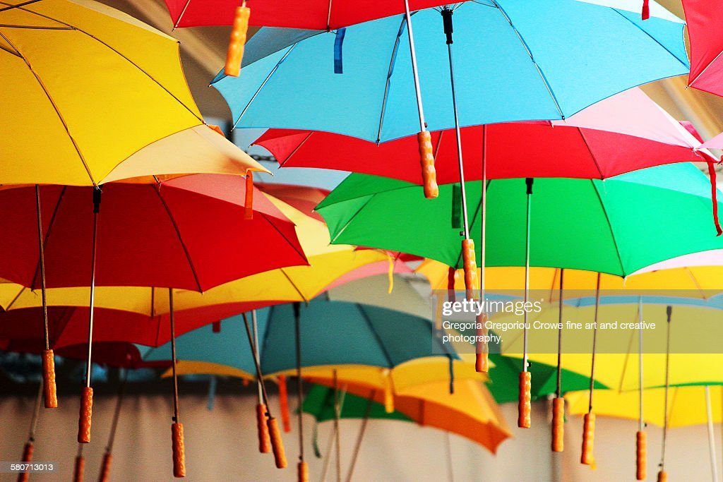 Umbrellas suspended from ceiling : Stock Photo