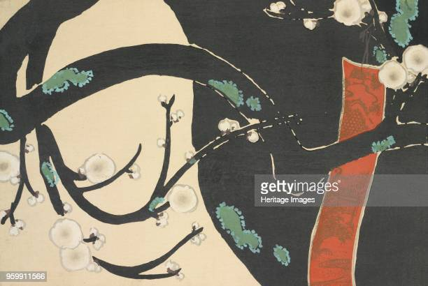 Ume fromMomoyogusa The World of Things Vol II pub1909 colour block woodcut A Plum Tree