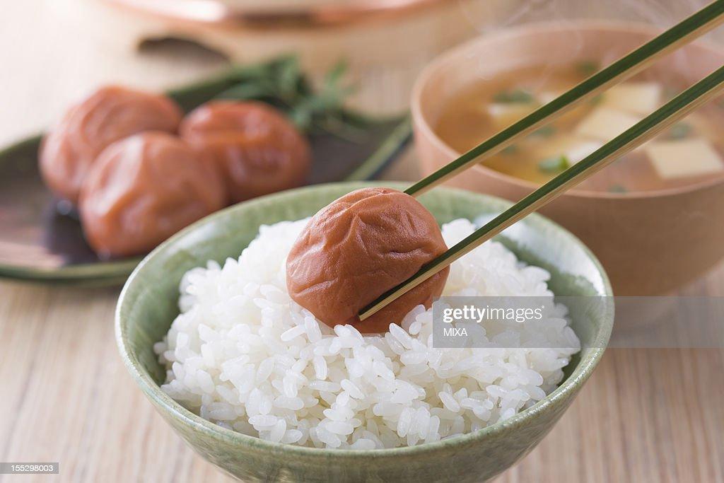 Umeboshi on Steamed Rice : Stock Photo