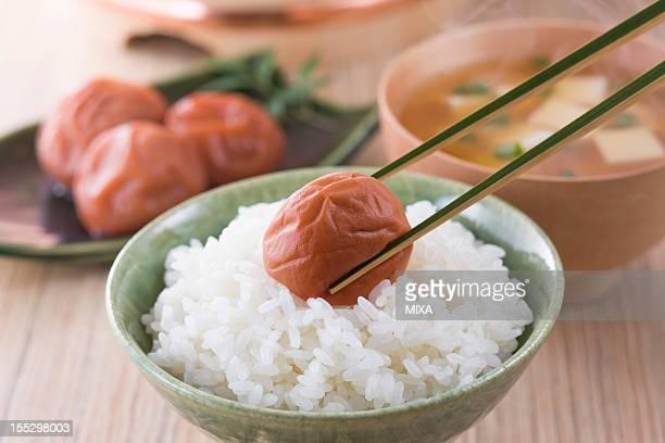 Umeboshi on Steamed Rice