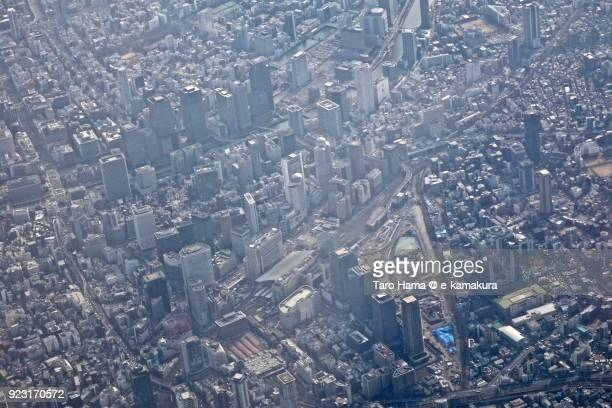 Umeda area in Osaka city in Osaka prefecture in Japan daytime aerial view from airplane