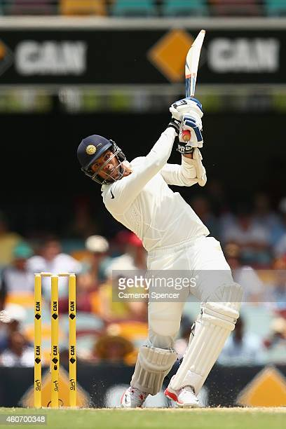 Umesh Yadav of India bats during day four of the 2nd Test match between Australia and India at The Gabba on December 20 2014 in Brisbane Australia