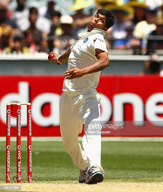 Umesh Yadav of India bowls during day three of the First Test match between Australia and India at the Melbourne Cricket Ground on December 28 2011...