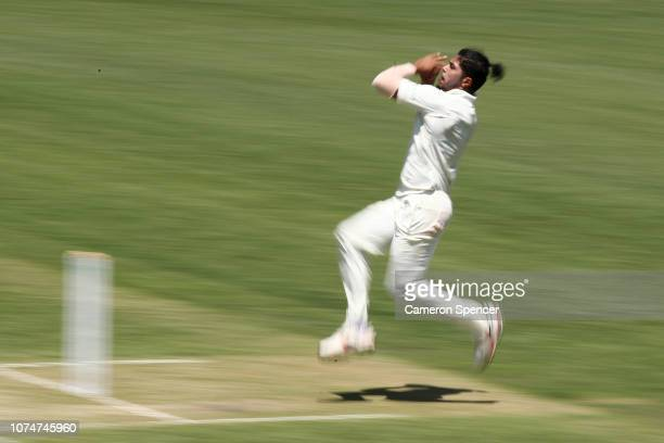 Umesh Yadav of India bowls during day three of the International Four Day tour match between the Cricket Australia XI and India at Sydney Cricket...