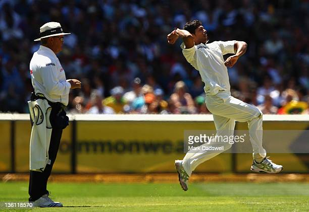 Umesh Yadav of India bowls during day two of the First Test match between Australia and India at Melbourne Cricket Ground on December 27 2011 in...