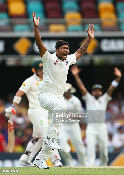 Umesh Yadav of India makes an unsuccessful appeal during day four of the 2nd Test match between Australia and India at The Gabba on December 20 2014...