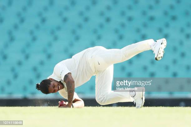 Umesh Yadav of India slips whilst bowling during day two of the four day International Tour Match between the Cricket Australia XI and India at...