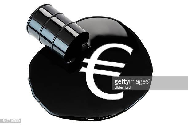 Umgekipptes Ölfass mit Eurozeichen Ölpreis