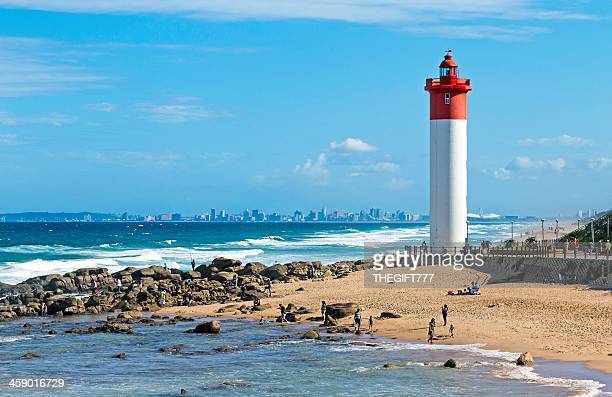 umhlanga lighthouse with durban - durban beach stock photos and pictures