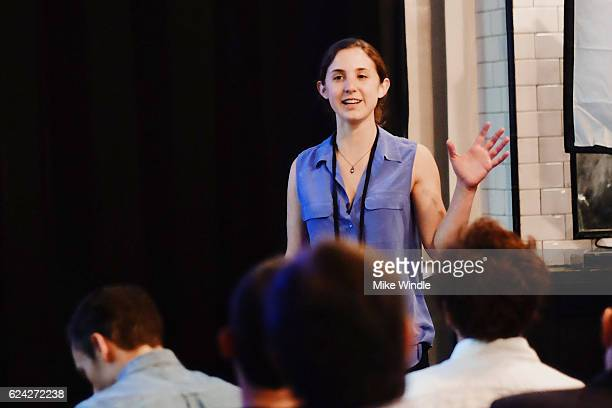 Umi Kitchen cofounder and Head of Community Hallie Meyer speaks during Personalization 'The Special Sauce of the Sharing Economy at the PeertoPeer...