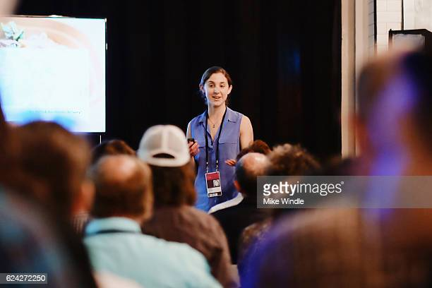 Umi Kitchen cofounder and Head of Community Hallie Meyer speaks during Personalization ''The Special Sauce' of the Sharing Economy at the PeertoPeer...