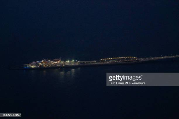 Umihotaru PA of Tokyo Bay Aqua Line in Japan daytime aerial view from airplane