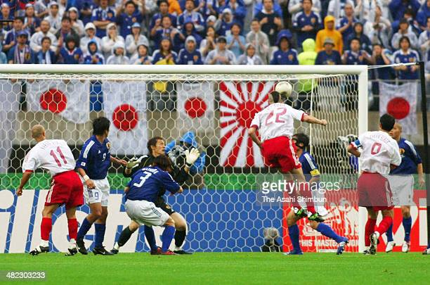 Umit Davala of Turkey scores his team's first goal during the FIFA World Cup Korea/Japan round of 16 match between Japan and Turkey at Miyagi Stadium...