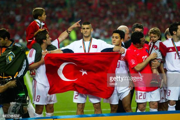 Umit Davala with Team Turkey celebrate his victory during the third place of World Cup match between South Korea and Turkey on 29th June 2002 at...