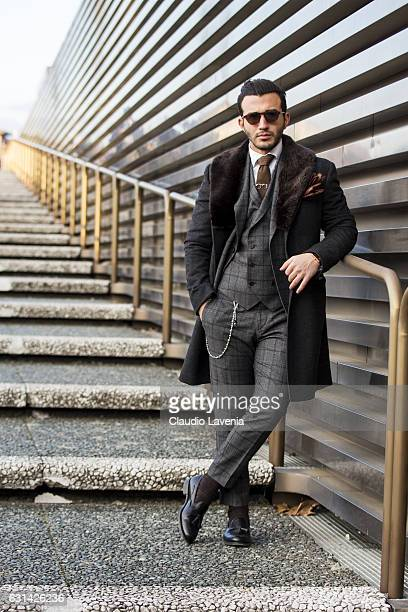 Umit Obeyd in total look Gagliardi is seen on January 10 2017 in Florence Italy