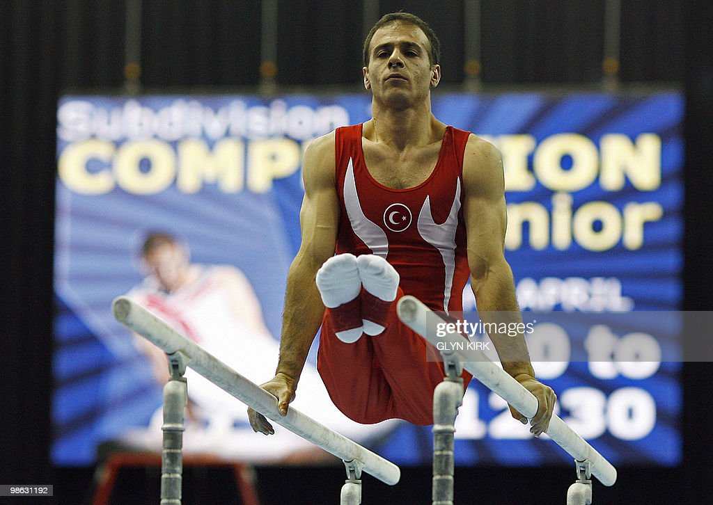 Umit Samiloglu of Turkey performs on the Parallel Bars during the mens senior qualification round, in the European Artistic Gymnastics Team Championships 2010, at the National Indoor Arena in Birmingham, central England on April 23, 2010.