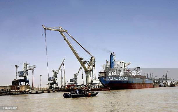 Iraqi US and British coastguards patrol the waters off Umm Qasr port south of Baghdad 27 May 2006 during the visit of US Director of the Iraq...