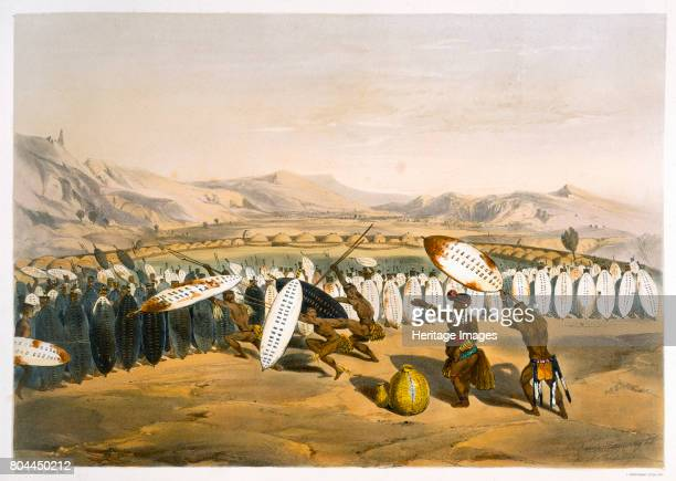 Umpanda Reviewing his Troops at Nonduengi 1849 Mpande was king of the Zulu from 1840 until his death in 1872 Plate 12 from The Kafirs Illustrated by...
