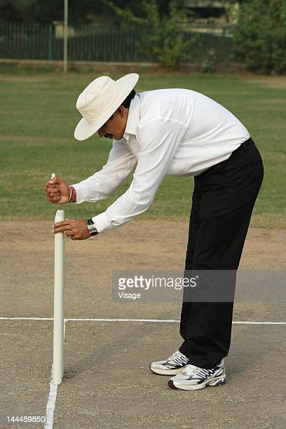 Umpire adjusting bails on wickets