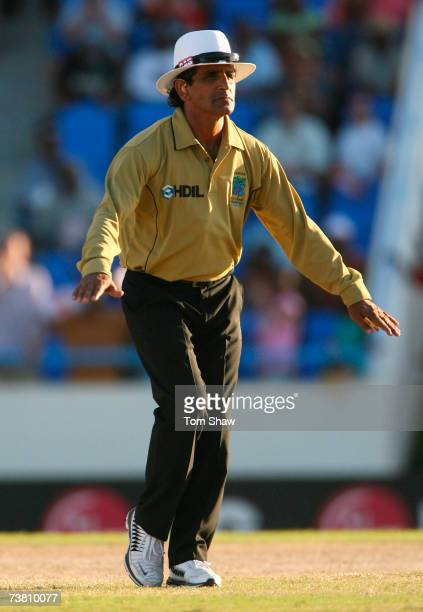 Umpire Asad Rauf signals a dead ball during the ICC Cricket World Cup Super Eights match between England and Sri Lanka at the Sir Vivian Richards...
