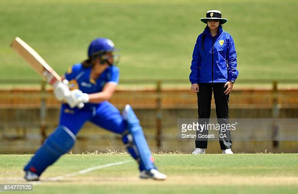 Umpire Ashlee Kovalevs officiates her first State game during the WNCL match between the ACT and Victoria at WACA on October 15 2016 in Perth...