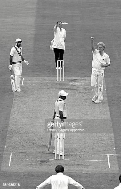 Umpire Barrie Meyer gives Javed Miandad of Pakistan out lbw to Graham Dilley of England for 75 during the 4th Test match between England and Pakistan...