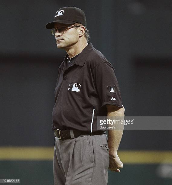 Umpire Bill Hohn during a baseball game between the Washington Nationals and the Houston Astros at Minute Maid Park on June 3 2010 in Houston Texas...