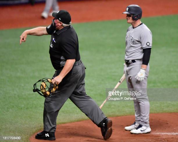 Umpire Bill Miller throws Clint Frazier of the New York Yankees out of the game during the fifth inning against the Tampa Bay Rays at Tropicana Field...