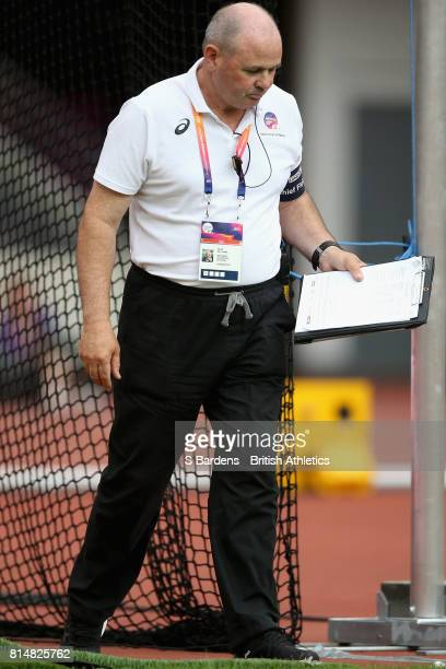 A umpire checks a distance during the Women's Discus Throw F41 Final during Day Two of the IPC World ParaAthletics Championships 2017 at London...