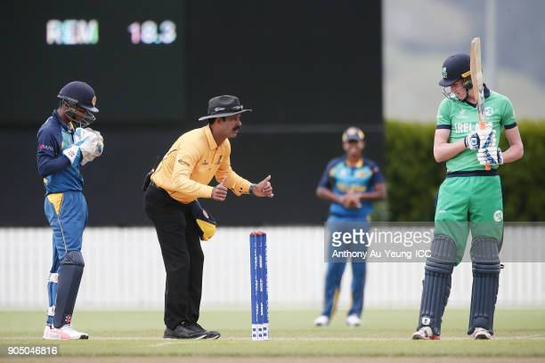 Umpire CK Handan puts the stumps back on during the ICC U19 Cricket World Cup match between Sri Lanka and Ireland at Cobham Oval on January 14 2018...