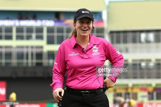 Umpire Claire Polosak during the ICC Women's World T20 2018 match between India and Ireland at Guyana National Stadium on November 15 2018 in...