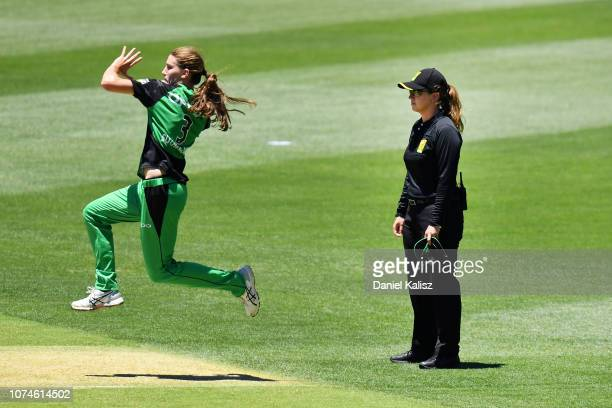 Umpire Claire Polosak is pictured during the Adelaide Strikers v Melbourne Stars Women's Big Bash League Match at Adelaide Oval on December 23 2018...