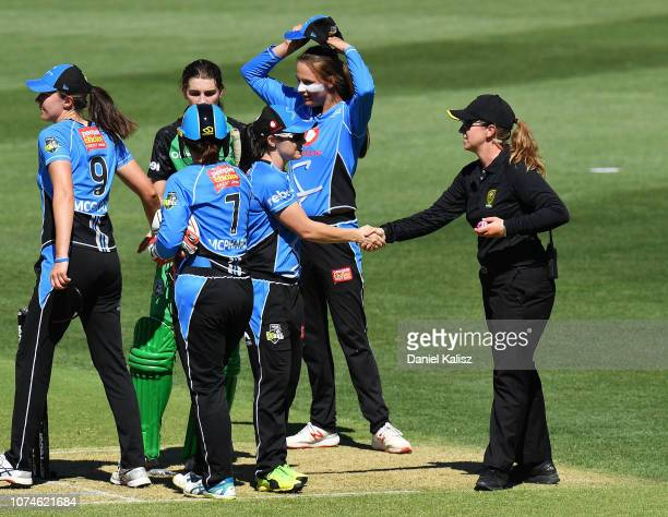 Umpire Claire Polosak shakes hands during the Adelaide Strikers v Melbourne Stars Women's Big Bash League Match at Adelaide Oval on December 23 2018...