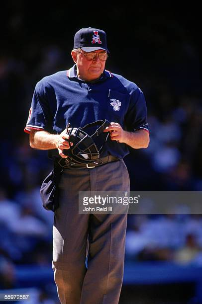 Umpire Don Denkinger looks on during a MLB season game on June 8 1997 Denkinger was an American League Umpire from 19681998